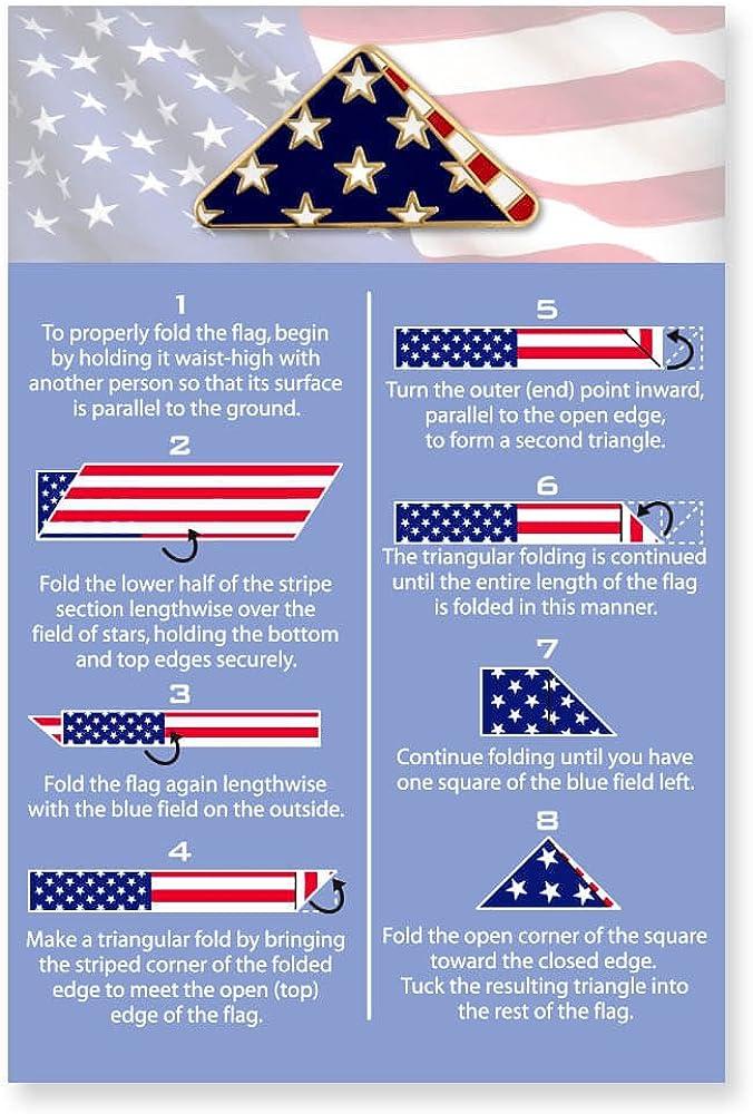 PinMart Folded American Flag Memorial Veteran Lapel Pin on Instruction Card