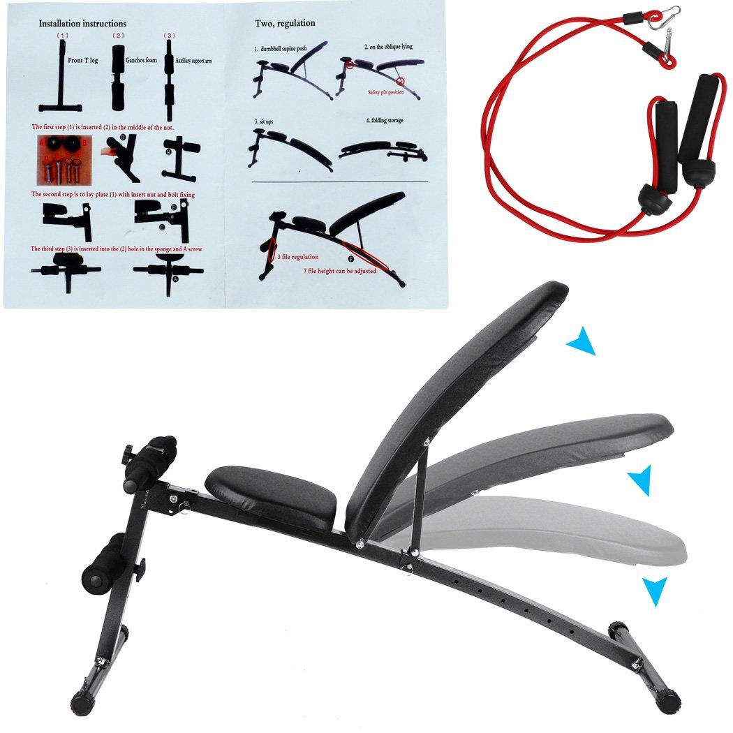 Plegable Ajustable Fitness musculación mancuernas Sit Up Banco de ABS soporte de inclinación disminución entrenamiento casa ejercicio (negro) (US stock): ...