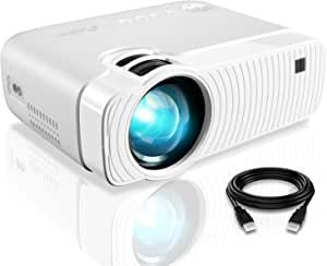 """Mini Projector, ELEPHAS 4500 Lumens Portable Projector Max 180"""" Display 50000 Hours Lamp Life LED Video Projector Support 1080P, Compatible with USB/HD/SD/AV/VGA for Home Theater (White) …"""