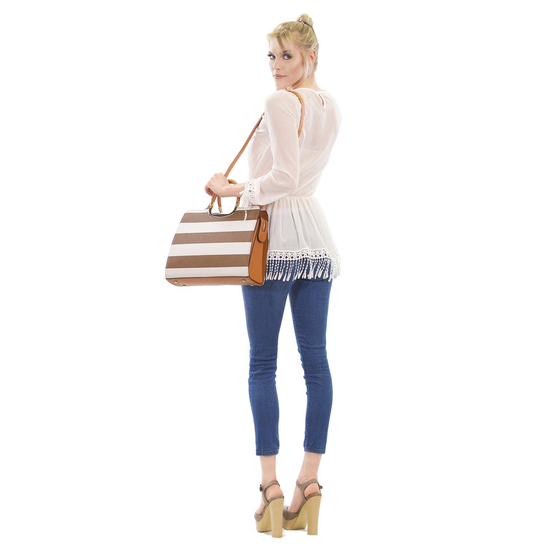 Dasein Designer Purse Stripes Satchel Handbag PU Leather Purse Top Handle Handbags (XL2828 stripe 2PCs- Black/White) by Dasein (Image #3)