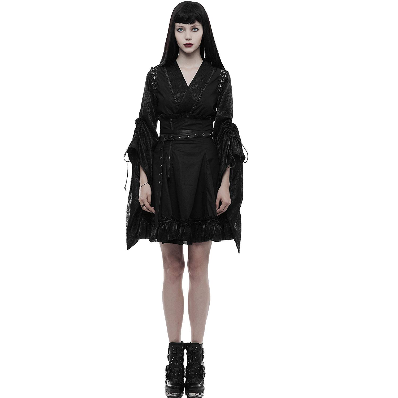 Punk Rave Women Black Gothic Lolita Japanese Jacquard Kimono Cardigan Blouse