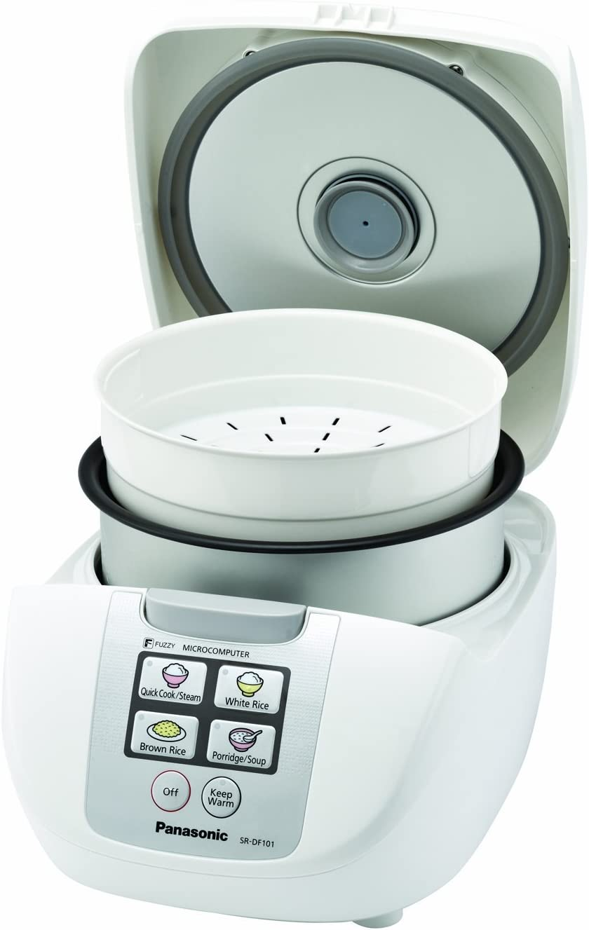 Panasonic 5 Cup (Uncooked) Rice Cooker with Fuzzy Logic and One-Touch Cooking for Brown Rice, White Rice, and Porridge or Soup – 1.0 Liter – SR-DF101 (White)