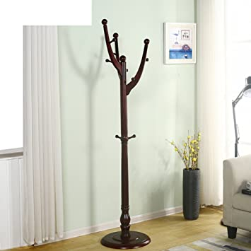Amazon.com: Perchero de madera piso de estante de ropa ...