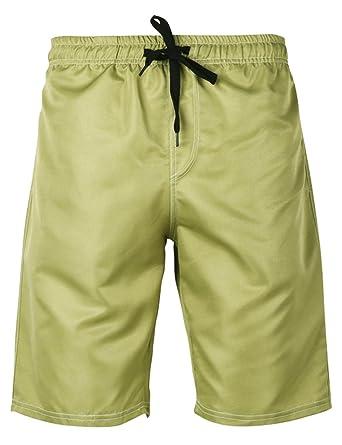 56e498cc03 HEMOON Men's Swimming Trunks, High Elastic Waist Drawstring Pocket Swimwear  Shorts Without Lining S Army
