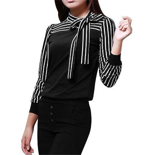 BESTHOO Mujer Camiseta Elegantes Con Corbata Blusa Mangas Largas Casual Elegante A Rayas Hipster Blo...