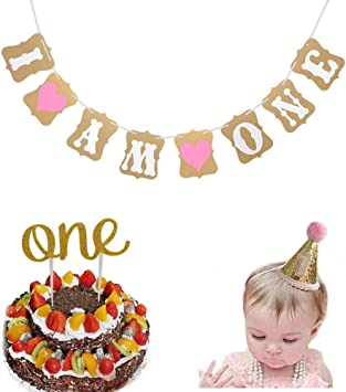 Pleasant Dusenly I Am One Banner Baby First Birthday Cake Topper With 1St Funny Birthday Cards Online Necthendildamsfinfo