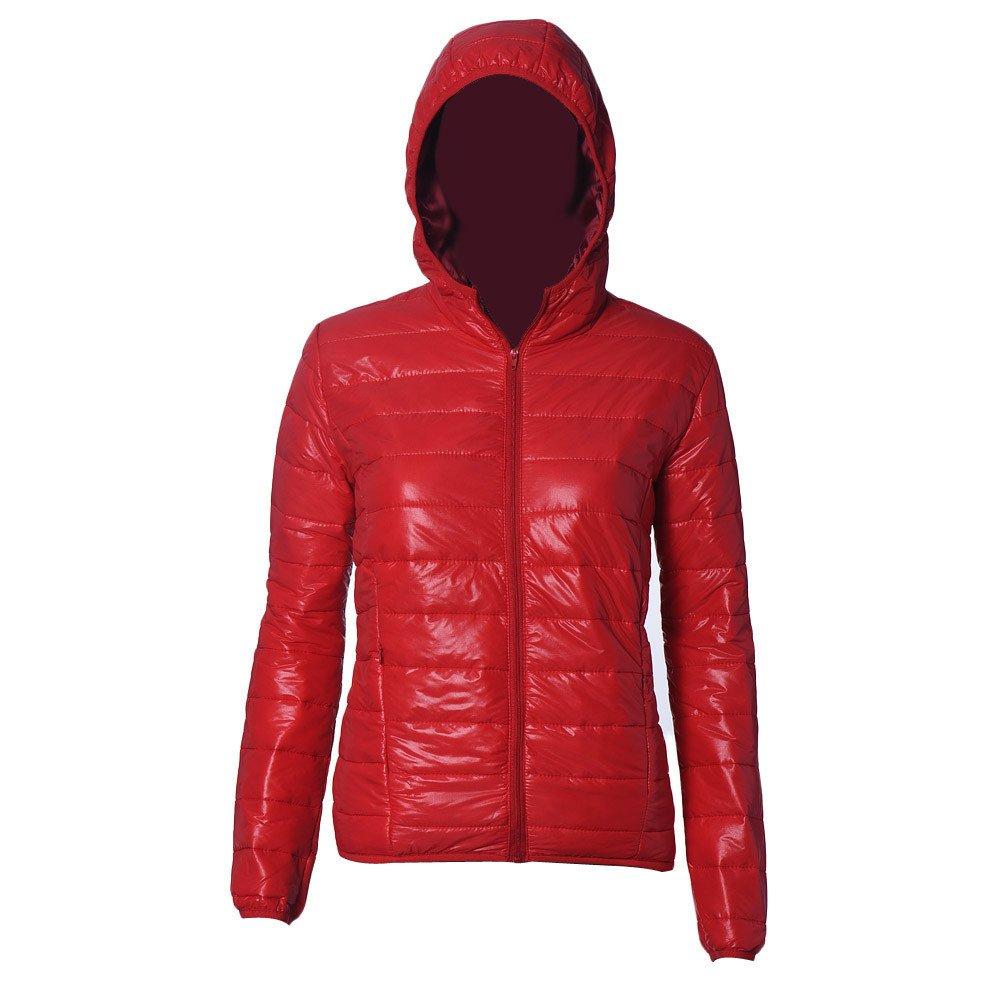 Women's Hooded Packable Ultra Light Weight Short Down Jacket Zipper Praka (M, Red) … Red) …