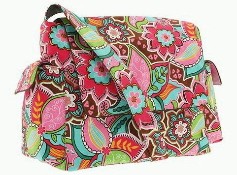 Oioi Baby Bags (OiOi Pink Floral Bouquet Messenger Diaper Bag with Water Resistant Finish - NEW!)