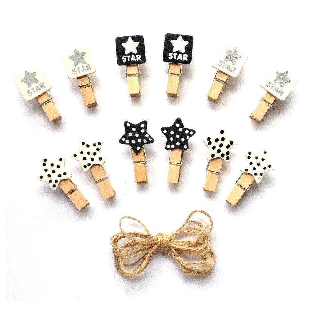 inférieur Crafts en bois Mini Pinces à linge étoiles 24pièces et jute Cord 2, 4m 4m LWR Crafts