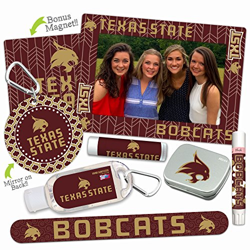 - Texas State Bobcats Deluxe Variety Set with Nail File, Mint Tin, Mini Mirror, Magnet Frame, Lip Shimmer, Lip Balm, Sanitizer. NCAA Gifts and Gear for Women, Mother's Day