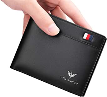 WilliamPOLO Mens Wallet Genuine Leather Front Pocket Money Clip Slim Purse