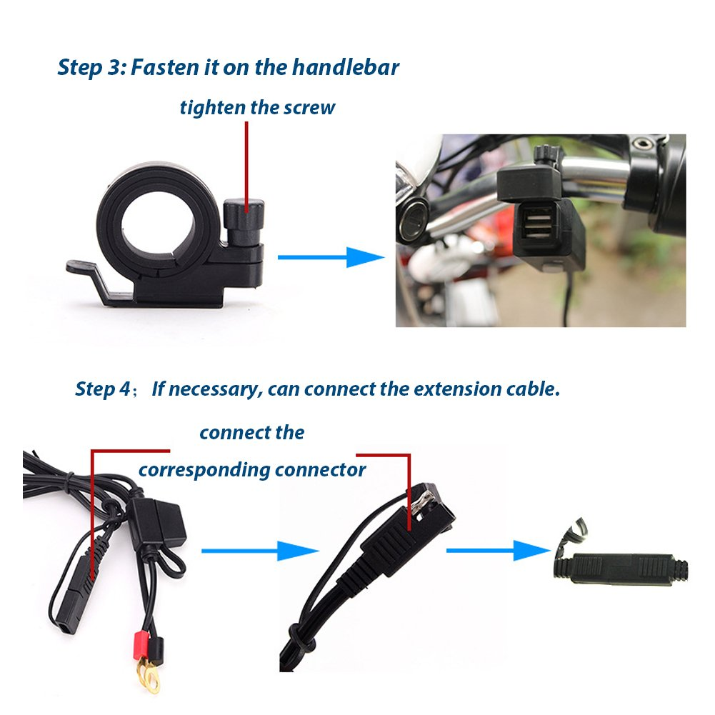 Keenso universale moto SAE a cavo adattatore USB 2.1/A 12/V-24/V impermeabile Dual Port presa di alimentazione da tavolo GPS