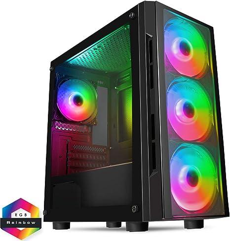 CiT Flash ARGB PC Gaming Case M-ATX, 4 Ventiladores ARGB de 120 mm ...