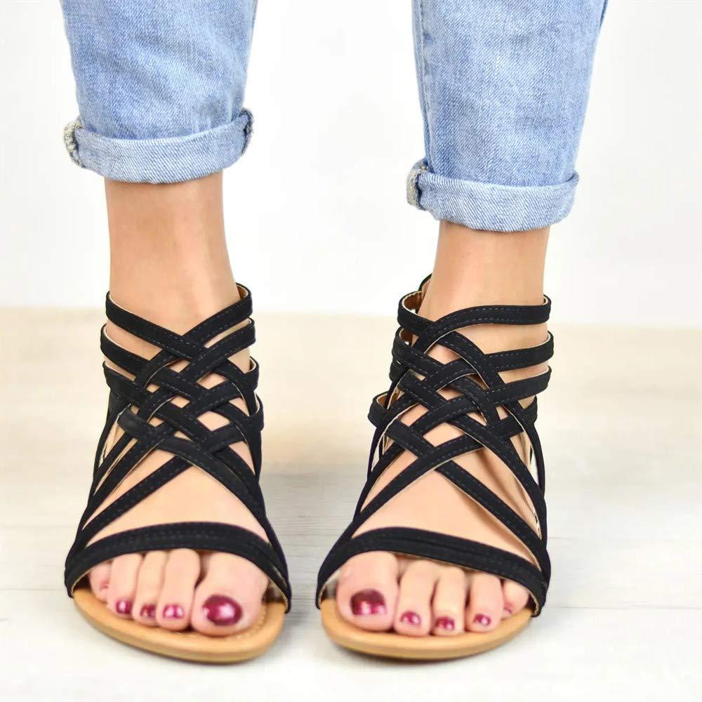 Sandalias Mujer Planas Zapatos Tacon Playa Verano Romano Gladiador Cremallera Punta Abierta Thongs Ligero Plataformas Negro Marr/ón Gris EU35-EU43