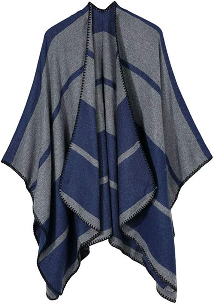 QIYUN.Z Womens Winter Long Soft Warm Classic Cabo Pashmina Estilo grueso Poncho Shawl