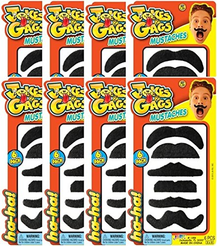 Ja-Ru Jokes and Gags Fake Mustache Party Favor Bundle Pack (6-Pack) (Artificial Moustache)