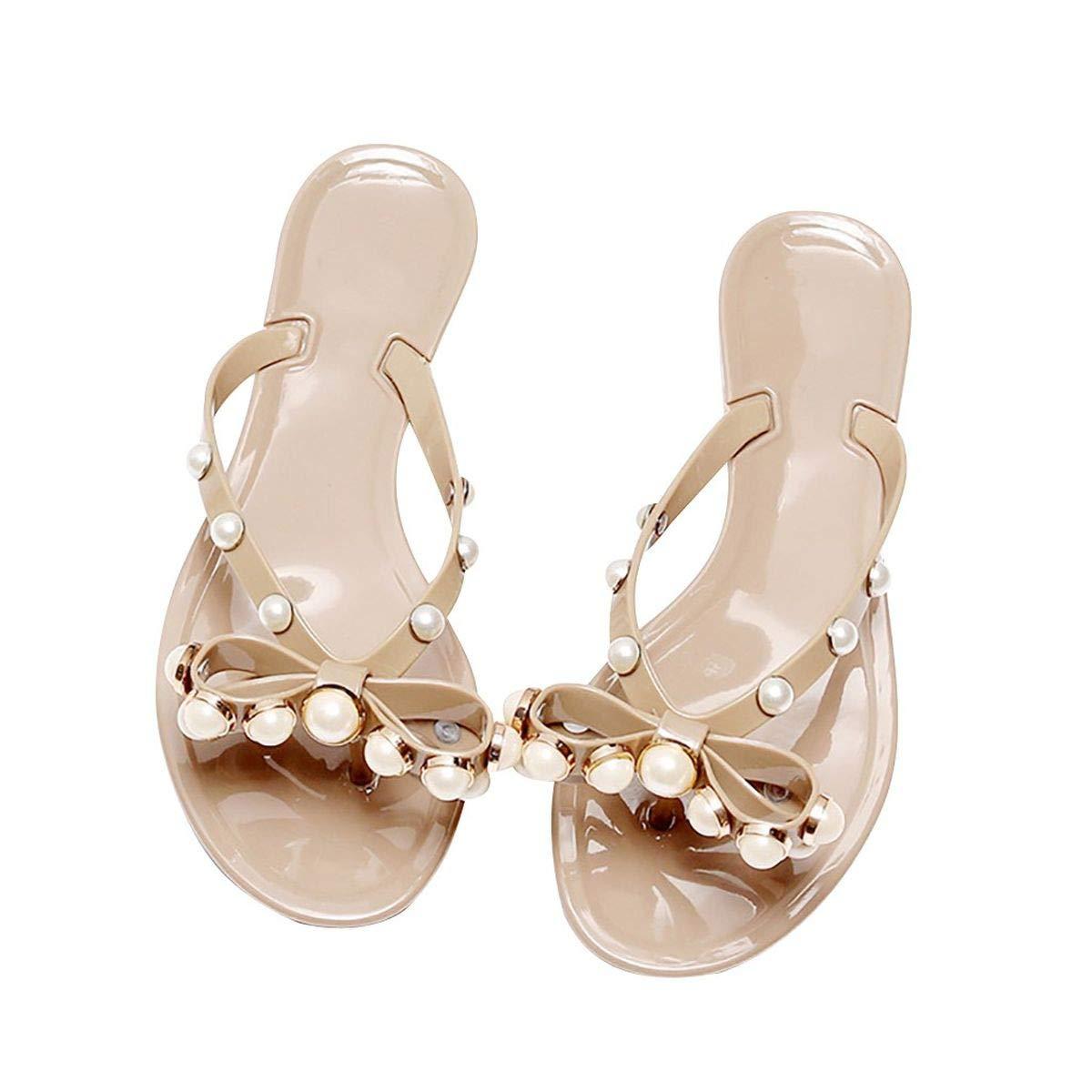Womens Rivets Bowtie Flip Flops Jelly Thong Sandal Pearl Rubber Flat Summer Beach Rain Shoes (Khaki, 8) by Meiliwanju