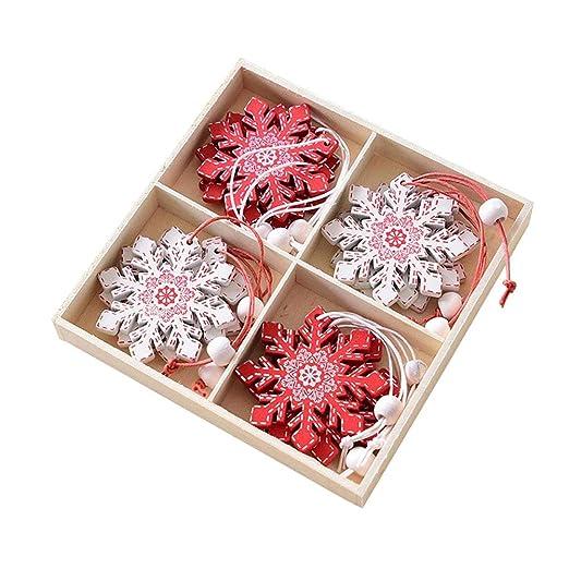 VORCOOL 12 piezas Mini madera de Navidad Copos de nieve Craft ...