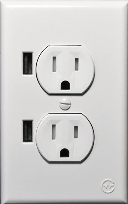 CurrentWerks UI-2222-SW USB Outlet Duo In-Wall Standard AC Outlet ...