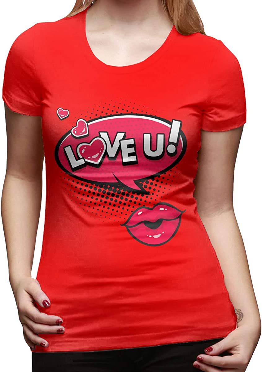 JUDSON Women Designed Tops Tee Shirt Love and Kiss You Short Sleeve New Tshirt White