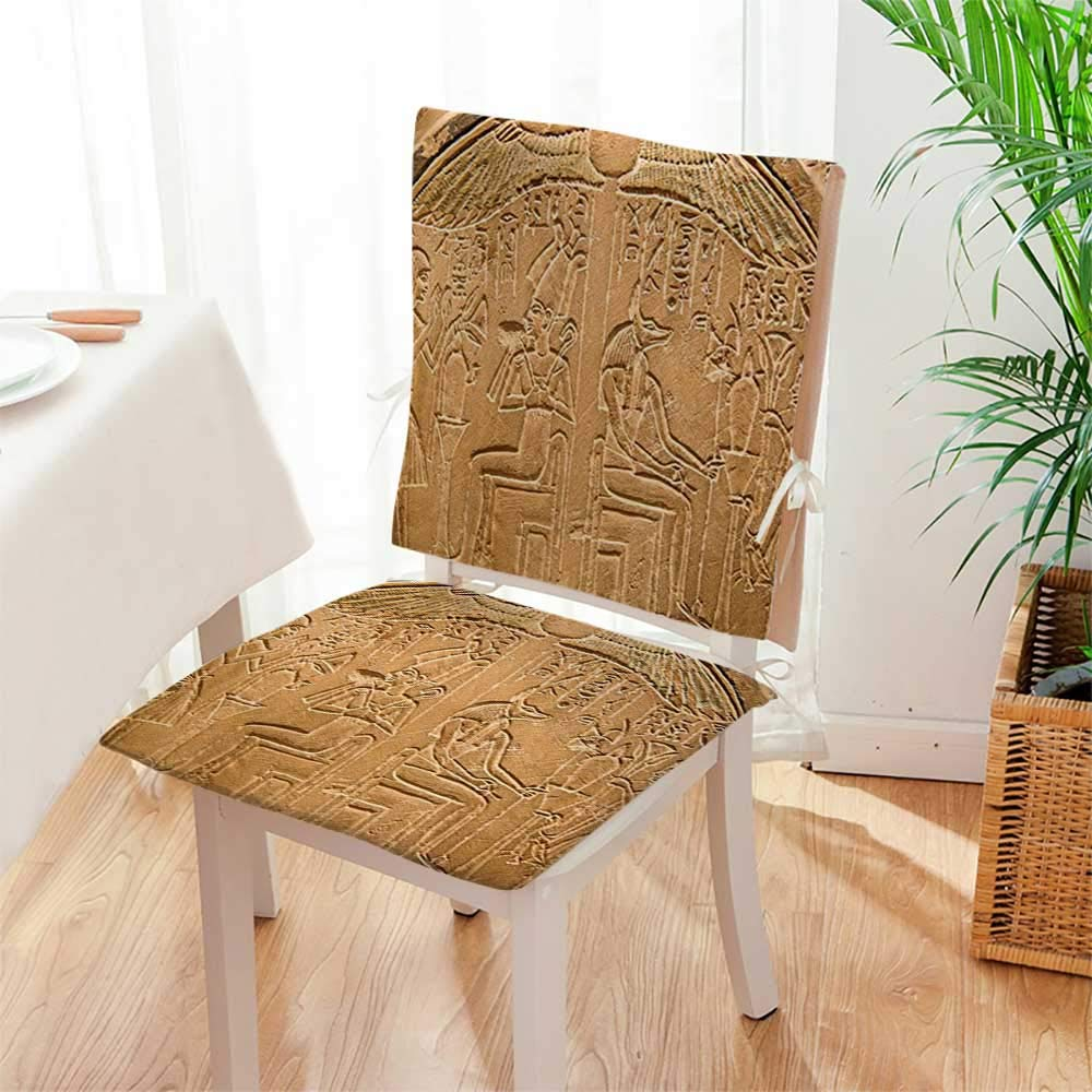 Mikihome Chair Pads 2 Piece Set Collection Egyptian Hieroglyphics on The Wall Stone Surface Scripts Picture Beige Ecru Ivory Classic Desig Bistro Chair Cushion Mat:W17 x H17/Backrest:W17 x H36