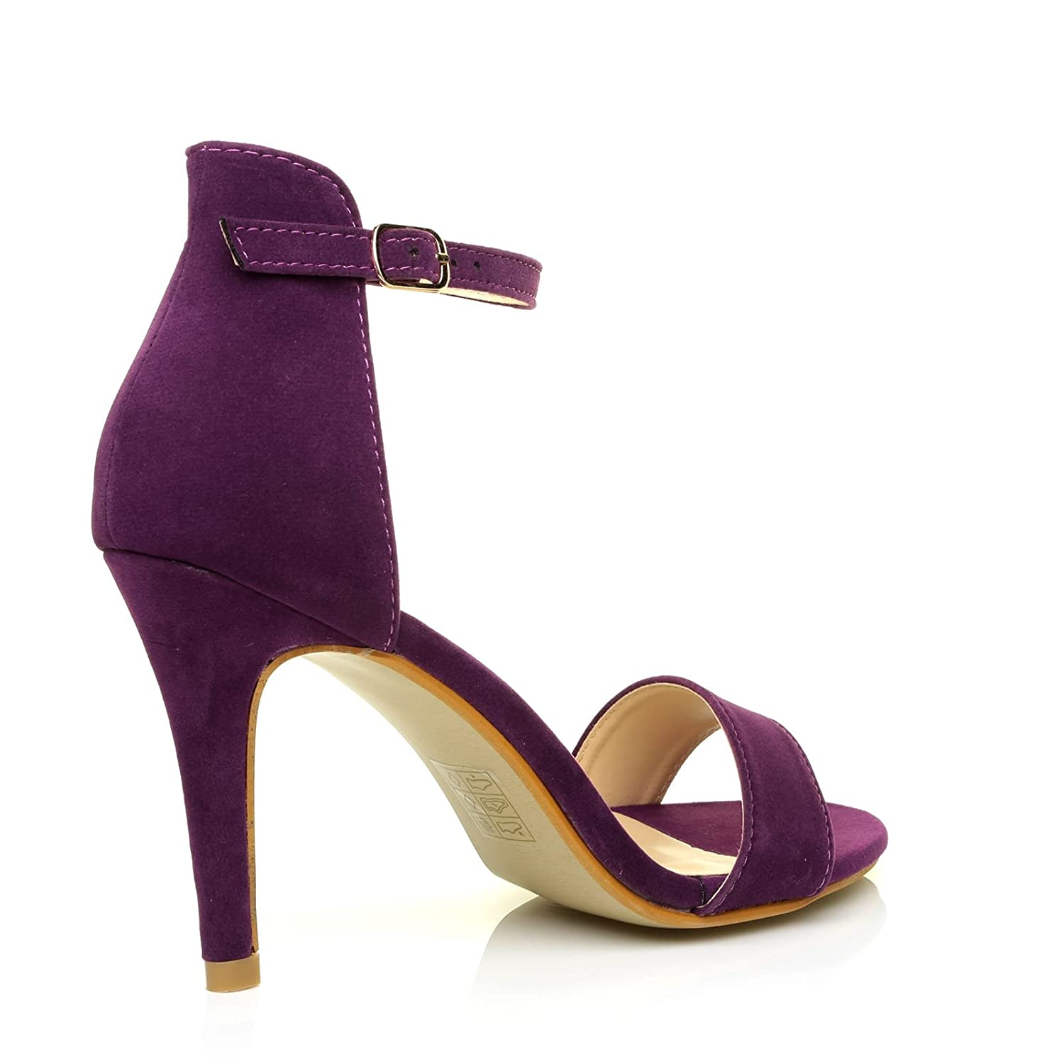3ab6b4df93 ShuWish UK PAM Purple Suede Ankle Strap Barely There High Heel Sandals:  Amazon.co.uk: Shoes & Bags