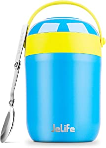 Kids Thermos Hot Food Container - 16oz Soup Thermos for Kids Lunch Adults Insulated Food Jar, Jelife Vacuum Leak Proof Stainless Steel Hot Cold Food Container with Spoon for School Travel Camping,Blue