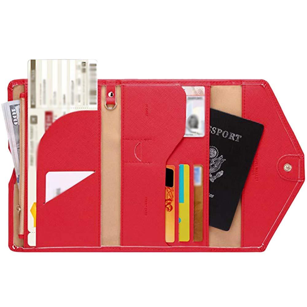 FarJing Unisex Neutral Multi-purpose Travel Passport Wallet Tri-fold Document Organizer Card Holder Clutch Wallet(One Size,Red)
