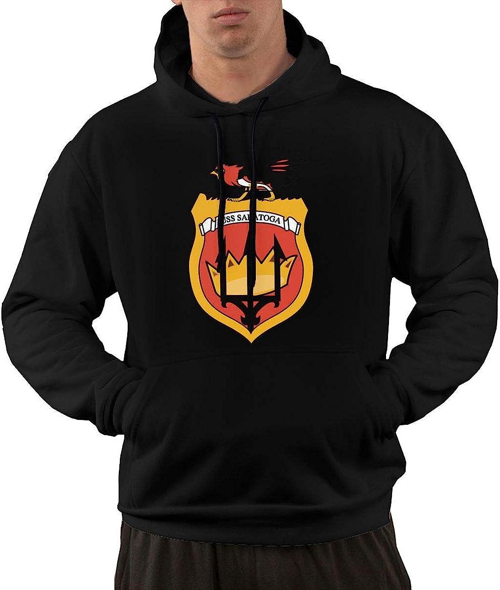 PinceponyHood Mens Navy USS Saratoga CVA-60 Hooded Fleece Sweatshirt