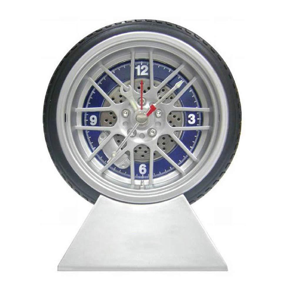 funwill 4 Inch Mute Modern Alarm Clock Simulation Tyre Shape Deak Clocks Table Decoration for Home Office Dorm Car