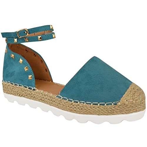 Sandalias Tobillo Zapatos Mujer De Rock Tiras Alpargatas Tachuela 35ARLjqc4