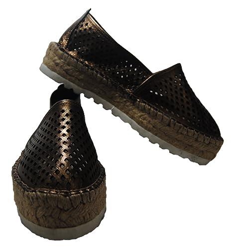 Pasfor Alpargata de Piel con Plataforma de Yute: Amazon.es: Zapatos y complementos