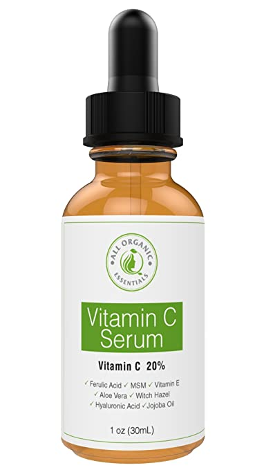 All Organic Essentials Vitamin C Serum for Face, 1 Oz Amber Glass Bottle