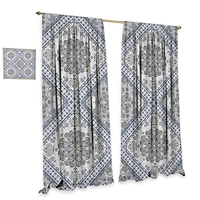 homefeel Turkish Pattern Thermal Insulating Blackout Curtain Complex Swirl Art Motifs with Persian Origins in Pale Colors Drapes for Living Room Grey Pale Mauve White