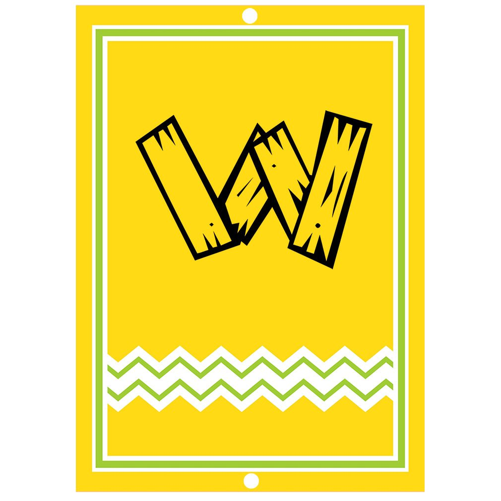 ''W '' Wood Initial Monogram Personalized Letter W Blue Room Nursery Décor METAL Sign Yellow