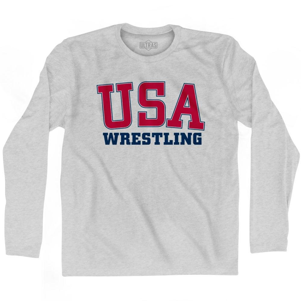 Ultras USA Wrestling Long Sleeve T-Shirt, Grey Heather, Small by Ultras