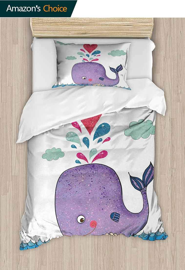 carmaxshome Whale DIY Quilt Cover and Pillowcase Set, Cute Smiley Whale with Love Valentines Hearts and Clouds on Sea Kids Print, Print, Decorative Quilted 2 Piece Coverlet Set with 1 Pillow Shams,