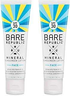 product image for Bare Republic Mineral Face Sunscreen Lotion. Lightweight, Unscented and Water-Resistant Face Moisturizer, 1.7 Ounces - 2 Pack.