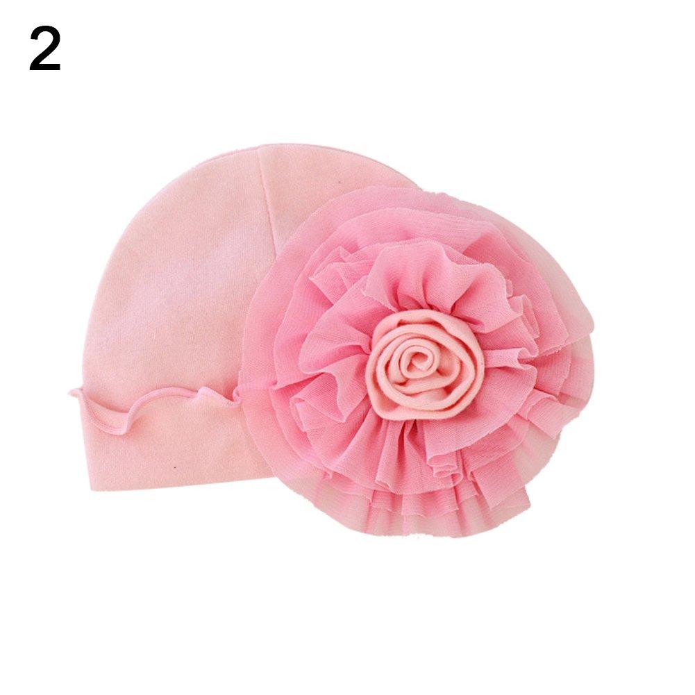 Mosichi Newborn Baby Girls Flower Hat Soft Cotton Sweet Beanie Cap Photography Prop