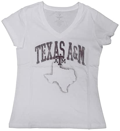 8284a579ac0 Amazon.com   Texas A M Womens White Hecht V-Neck T-Shirt   Sports ...