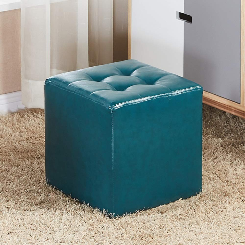 bluee Square LifeX Fashion European Style Home Living Room Round Square Sofa Stool Coffee Table Stool Household Waterproof Leather shoes Bench Shop Dressing Stool Office Adult Small Bench