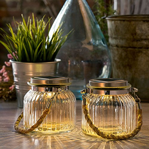 2 Glass Solar Lighted Jars With Warm White Leds  Nautical Rope Handles  Rechargeable Battery Included