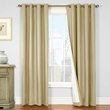 Amazon.com: jinchan Thermal Insulated Beige Blackout Curtains for ...