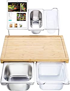 Extensible Bamboo Cutting Board Set with 4 Containers for Kitchen with Juice Groove, Eco-friendly Chopping and Serving Board for Meats Bread Fruits