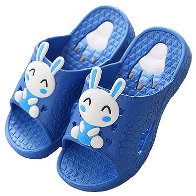 73f82f35eee2d9 HiTime Boys Girls Cute Bunny Slide Sandals Slipper Indoor Home Non Slip  Bath Slippers (13.5