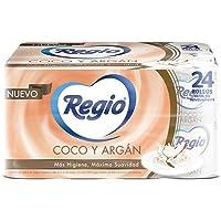 Regio Papel Higiénico, Ligero Aroma a Coco Y Argan, 24 Rollos, 350 Hojas Dobles