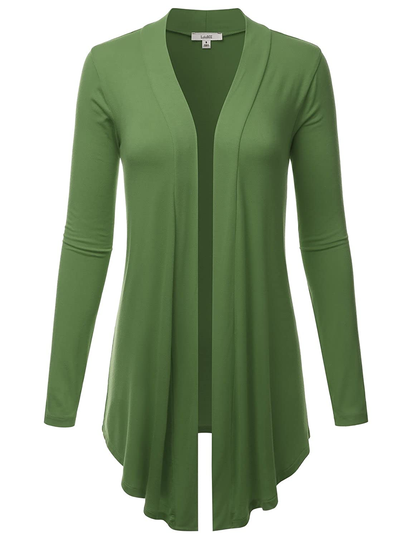 Lbt007kiwi LALABEE Women's Draped OpenFront Long Sleeve Light Weight Cardigan (S3XL)
