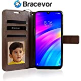 Bracevor Flip Cover Case for Xiaomi Mi Redmi Y3 / Redmi 7 Leather Case   Wallet Card Slots   Foldable Stand   Inner TPU - Executive Brown