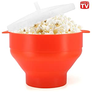 Microwaveable Silicone Popcorn Popper, BPA Free Collapsible Hot Air Microwavable Popcorn Maker Bowl, Use In Microwave or Oven (Orange)