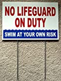 1 Pc Leading Popular No Lifeguard Duty Sign Warning Message Risk Beach Plastic Printed Size 8'' x 12'' with Stake
